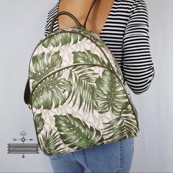 fcdc807ded52 Michael Kors Bags | Mk Palm Leaf Medium Backpack Green | Poshmark